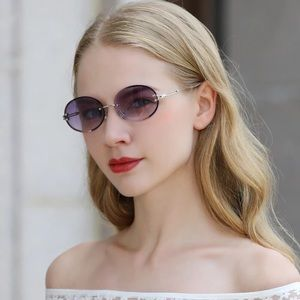 KINGSEVEN Vintage Oval Rimless Gradient Sunglasses